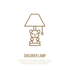 Kids table lamp flat line icon home lighting vector