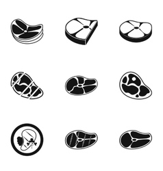 Kind of beef icons set simple style vector