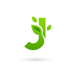 Letter j eco leaves logo icon design template vector