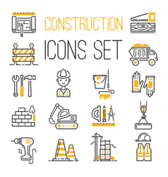 Linear black yellow construction icons set vector