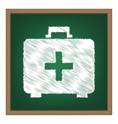 Medical first aid box sign white chalk effect on vector
