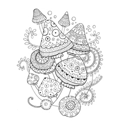Mushroom drawing coloring book for adults vector image vector image