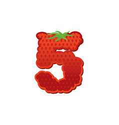 Number 5 strawberry font red berry lettering five vector