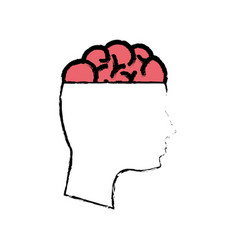 Outline mental health person with brain vector
