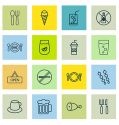 Set of 16 meal icons includes soda drink stop vector