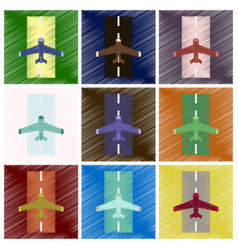 Set of flat icons in shading style airplane runway vector