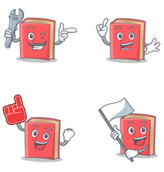 Set of red book character with mechanic foam vector
