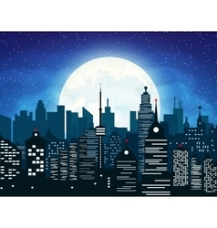 Silhouette of the city and night sky vector image vector image