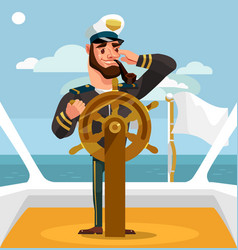 smiling happy captain character helm vector image