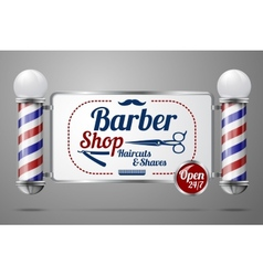 Two old fashioned vintage silver and glass barber vector image vector image