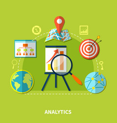 web analytics symbols composition vector image