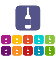 wine bottle icons set flat vector image vector image