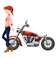 Woman and vintage motocycle vector image vector image
