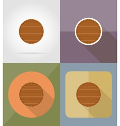 wooden board flat icons 13 vector image