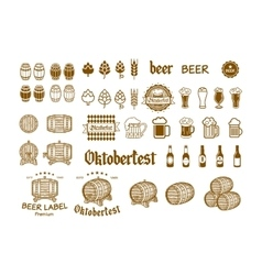 Beer label and logos drink icon vector