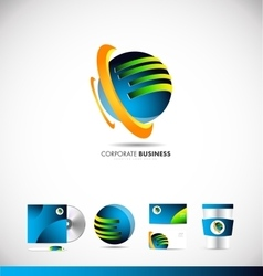 Corporate business 3d sphere logo icon design vector image