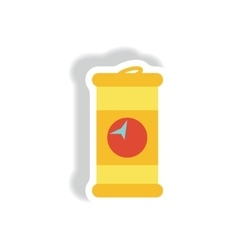 Stylish icon in paper sticker style iron barrel vector