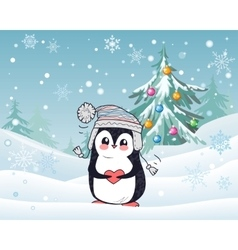 Penguin animal in hat and heart winter landscape vector