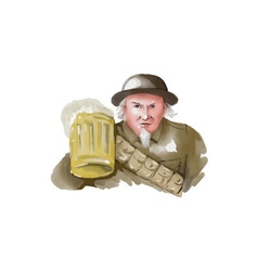 Uncle Sam WW1 Soldier Toasting Beer Watercolor vector image
