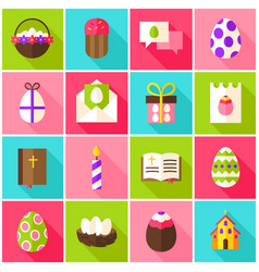 Easter holiday colorful icons vector