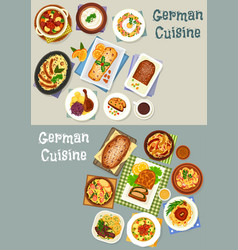 German cuisine festive dinner icon set design vector