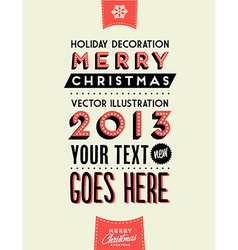 Retro Vintage Merry Christmas Tin Sign vector image