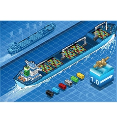Isometric cargo ship with containers in rear view vector