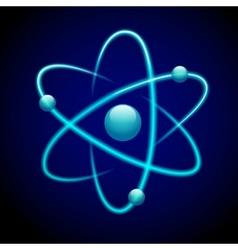 Atom symbol 3d blue vector