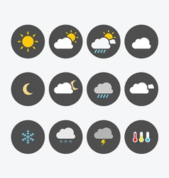 Weather icons simple flat vector
