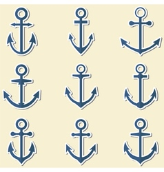 Anchors in blue colors anchor symbols or logo vector