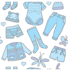 Seamless pattern baby boy clothes vector