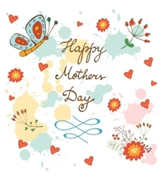 Happy mothers day card with flowers and butterfly vector