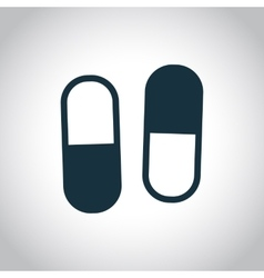 Two capsules flat icon vector