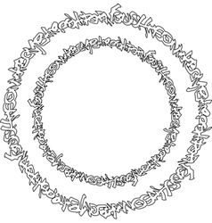 Circular black graffiti tag pattern on white vector
