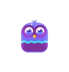 Giggling blue chick square icon vector