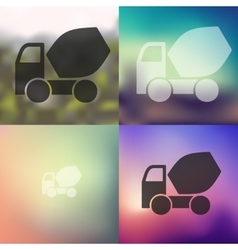 Cement mixer icon on blurred background vector
