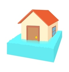 House flooded icon cartoon style vector