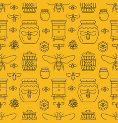 Beekeeping seamless pattern yellow color vector