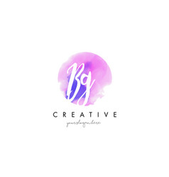 Bg watercolor letter logo design with purple vector