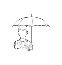 Businessman with open umbrella icon outline style vector image