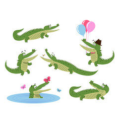 cute cartoon crocodiles isolated set vector image