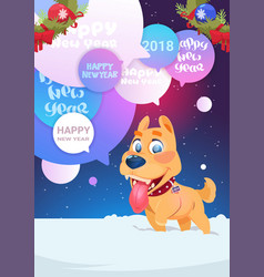 Dog on wither holidays card happy new year 2018 vector
