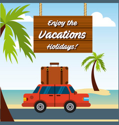 enjoy vacations travel isolated icon vector image