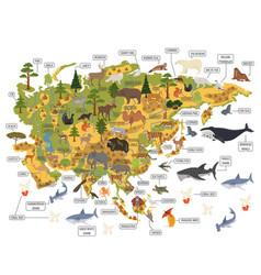 Flat asian flora and fauna map constructor vector