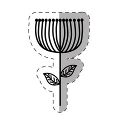 Flower decoration ornate monochrome vector