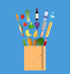 fresh healthy produce and paper shopping bag vector image vector image