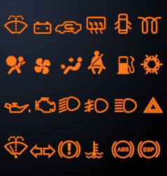 Illuminated car dashboard icons vector