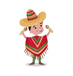little boy in mexico country national clothes kid vector image