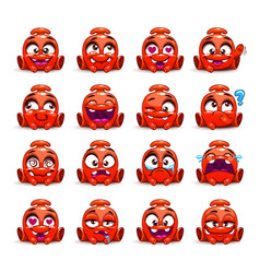 little cute funny red alien vector image vector image