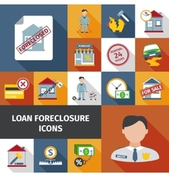 Loan foreclosure icons vector